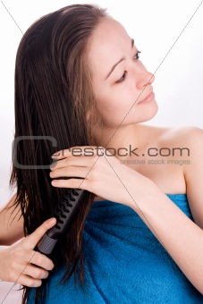 Beautiful woman is grooming