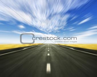 Simple high grass horizon with road on horizon