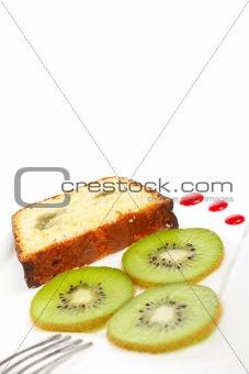 Slice of cake with kiwi