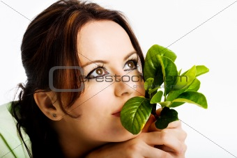 Young girl thinking about green future