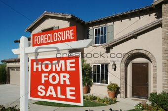 Foreclosure Home For Sale Sign in Front of New House