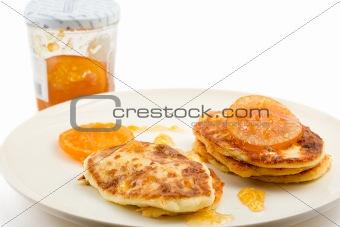 small cottage pancakes with orange jam