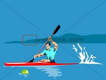 Athlete paddling on a kayak