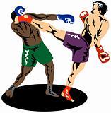 Kick boxer kicking opponent