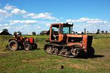 Old tractors on the field