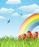 easter with eggs, birds and rainbow / vector