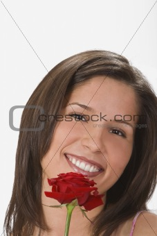 A smile behind a rose