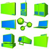 Information Technology Business Industry Icons Set - Blue Green