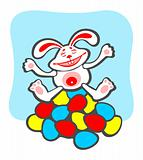 cheerful rabbit and easter eggs
