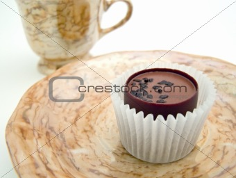 Saucer with chocolate
