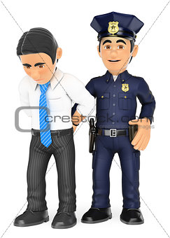 3D Policeman arresting a thief. White collar criminal