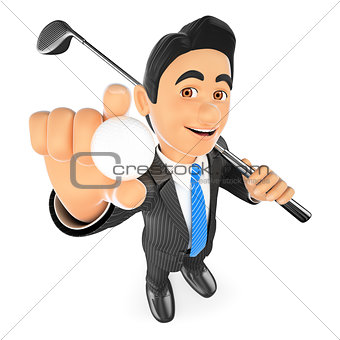 3D Businessman with a ball and a golf club