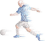 Abstract modern dots football soccer player, kick the ball