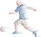 Abstract modern dots football soccer player, kick the ball