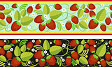 Strawberries seamless background with green leaves, berries