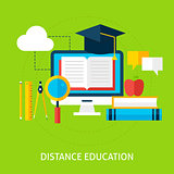 Distance Education Flat Concept