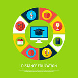Distance Education Flat Infographic Concept