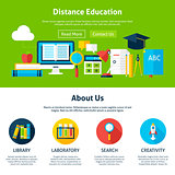 Distance Education Flat Web Design Template