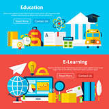 Education and E Learning Flat Website Banners