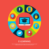 Electronic Learning Flat Infographic Concept