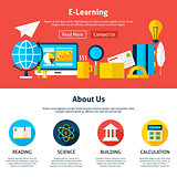 Electronic Learning Flat Web Design Template