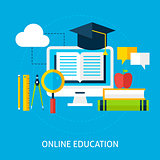 Online Education Flat Concept