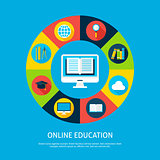 Online Education Flat Infographic Concept