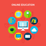 Online Education Infographic Concept