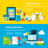 Web Tutorials and Online Education Flat Website Banners
