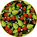 Strawberries background with leaves, berries and flowers in round frame on black
