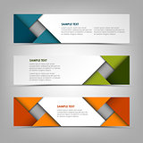 Collection banners with abstract colored triangles