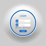 Login web blue round screen template