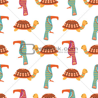 African animals cute seamless pattern