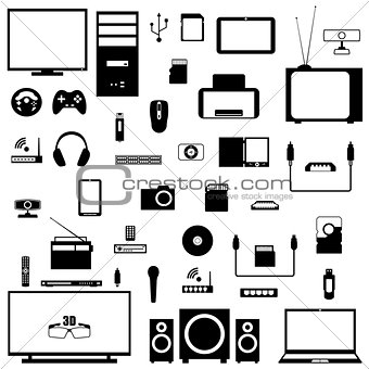 A set of digital devices, vector illustration.