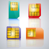Set SIM card, vector illustration.