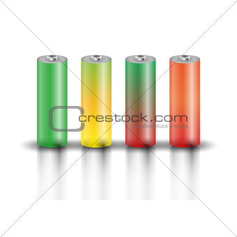 A set of batteries, vector illustration.