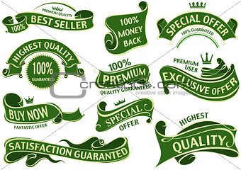 Green Banner Ribbon Set