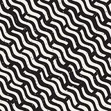 Vector Seamless Hand Drawn Daigonal Wavy Lines Grunge Pattern