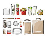 Tray with fast food, sketch for your design