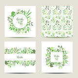 Set of four herbal card templates.