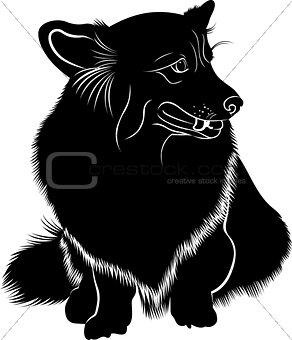 Cardigan Welsh Corgi. Welsh Corgi. Silhouette of a dog of breed Pembroke Welsh Corgi. Vector stylized line drawing of pembroke welsh corgi.