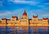 Sunset evening with Hungarian parliament in Budapest