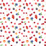 seamless pattern with raspberry, sweet cherry, strawberry