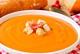 spanish salmorejo with ham and croutons
