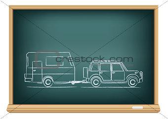 camp car drawn on blackboard