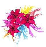 Vector pink lilies