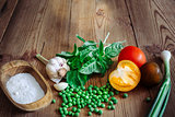 Basil, color tomatoes, garlic, green peas, salt and onion