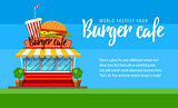Fast food cafe flyer or banner design with hamburger