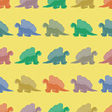 Seamless pattern. Colored dinosaurs