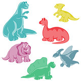Set. Funny colored dinosaurs